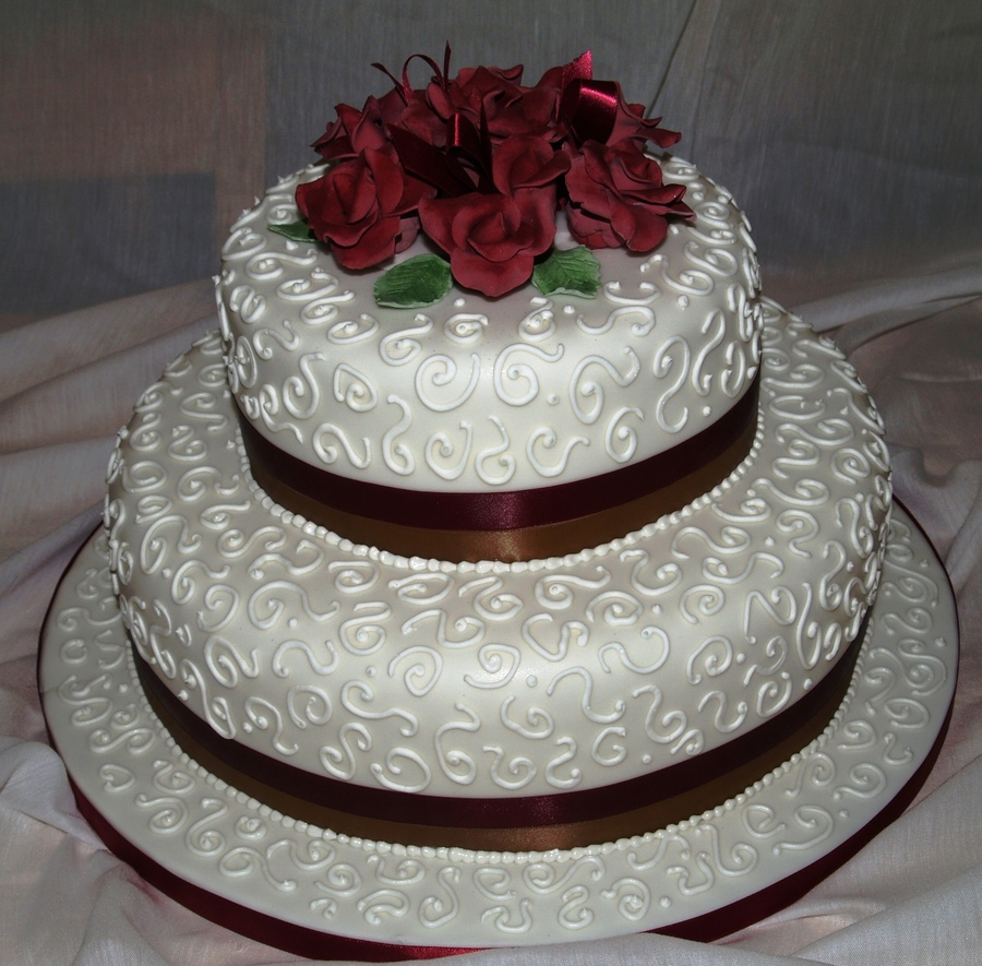 two tier wedding cakes with roses 2 tier wedding with roses cakecentral 21373