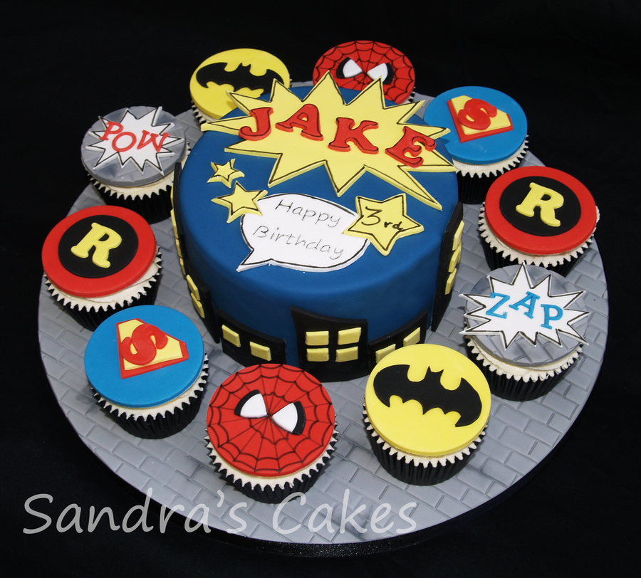 6 Cake Amp 10 Matching Cupcakes Jakes Superhero Birthday On Central