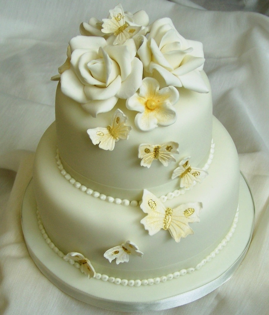 Golden wedding cake - Th anniversary cake decorations ...