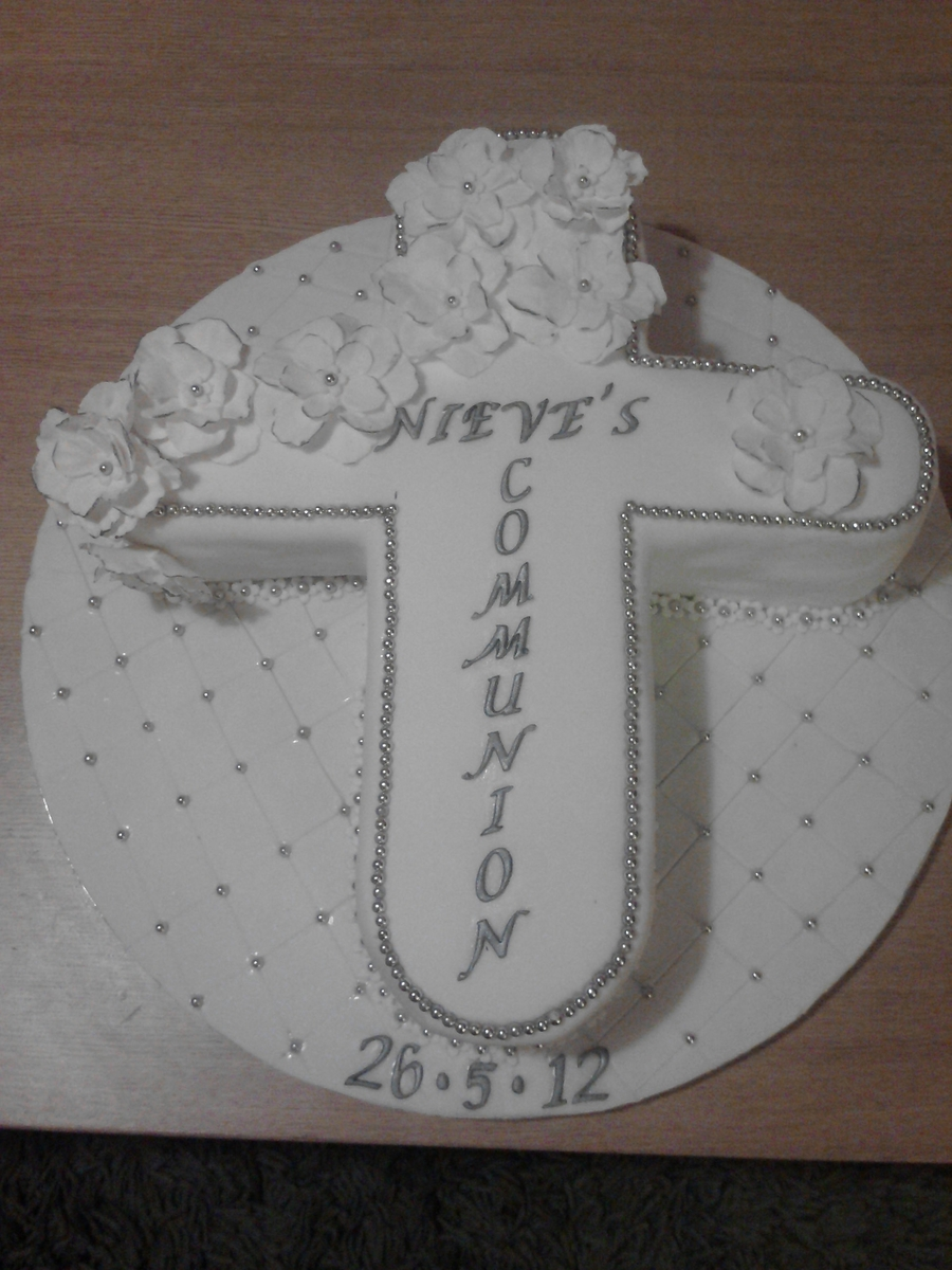 White Communion Cake on Cake Central