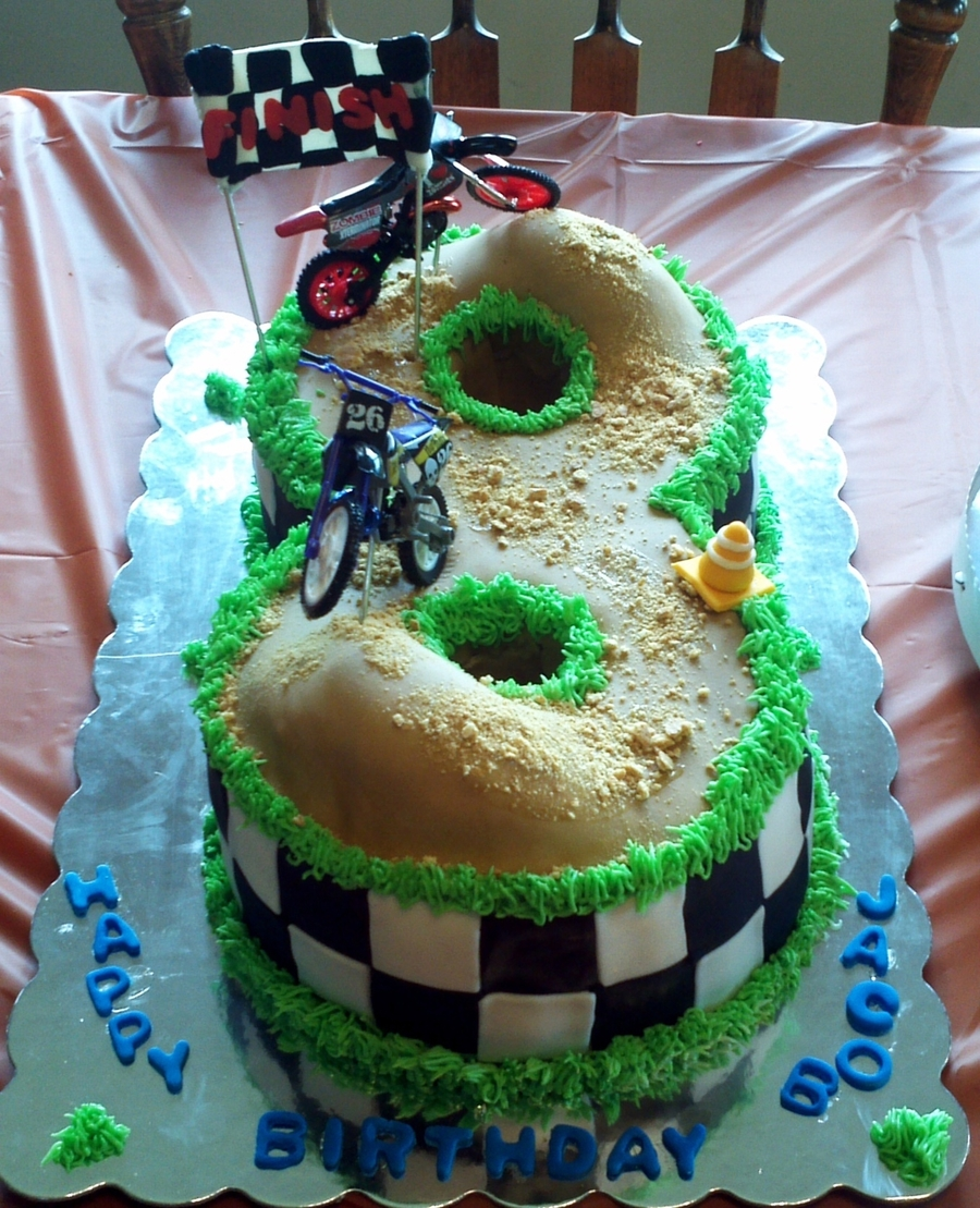 Number 8 Dirtbike Racetrack on Cake Central
