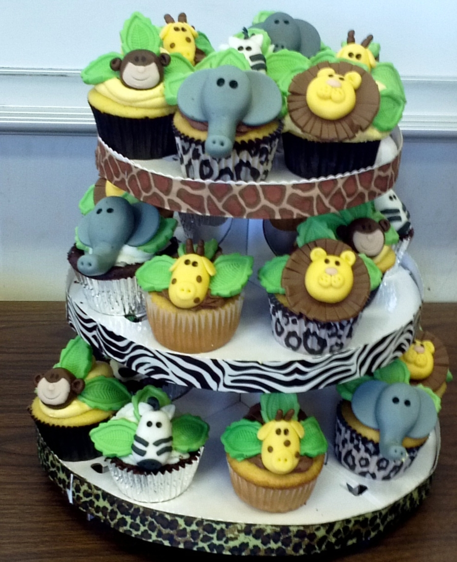 Baby shower cakes baby shower cupcake cake ideas boy - Safari Themed Baby Shower Cupcakes Cakecentral Com