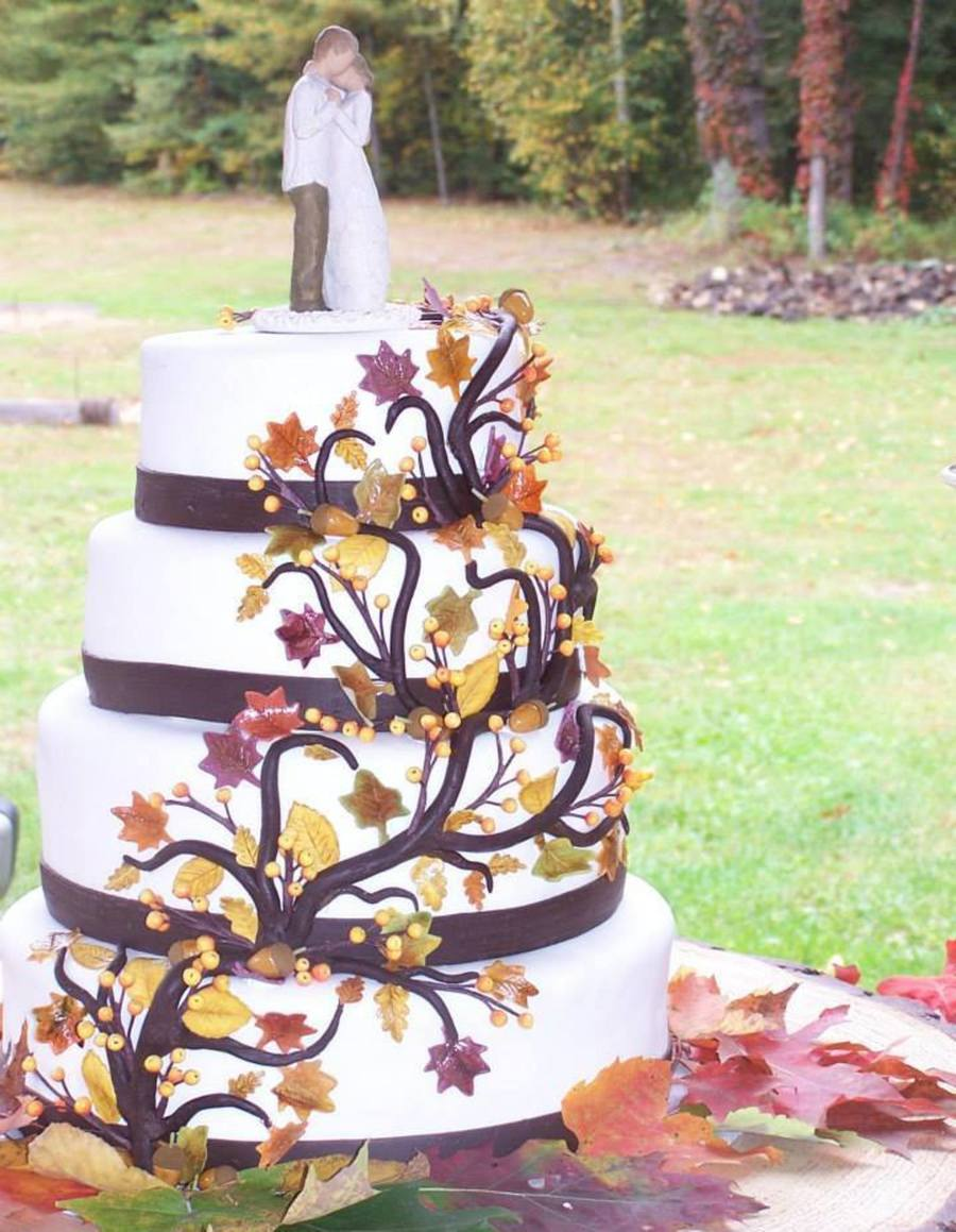 Wedding Cake For My Stepdaughter 4 Tiers Sitting On Base Of Wood All Leaves Acorns And Berries Hand Made Out Of Gum Paste Colored Sha on Cake Central
