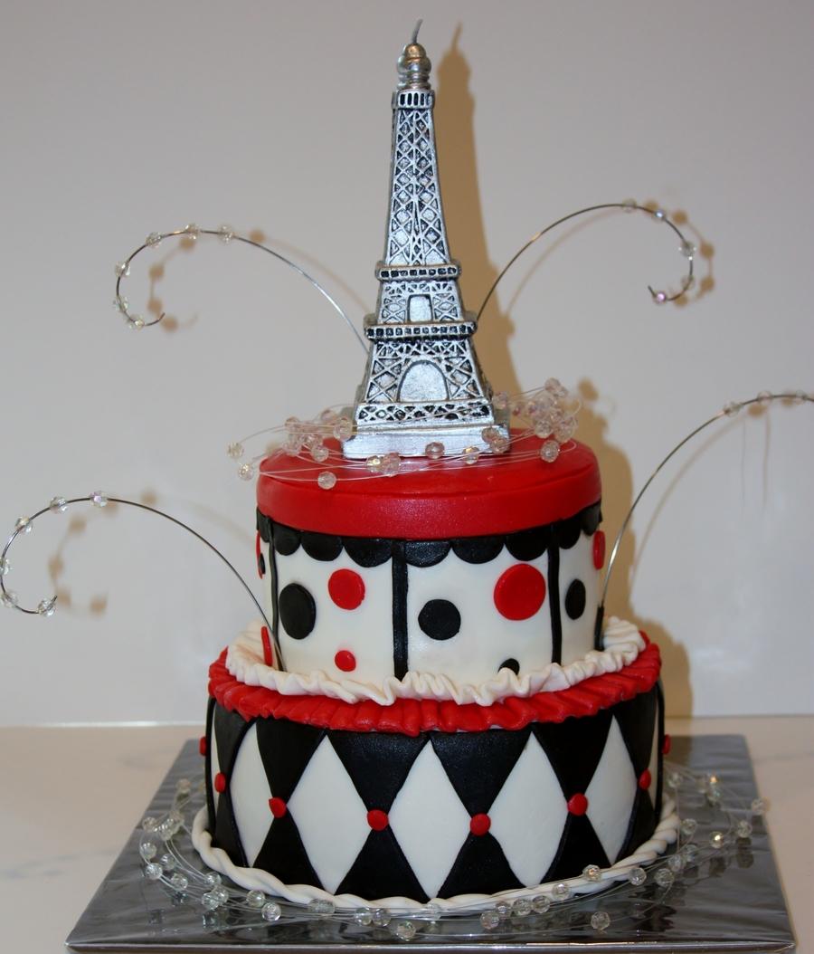 Pariseiffel Tower Themed Cake CakeCentralcom