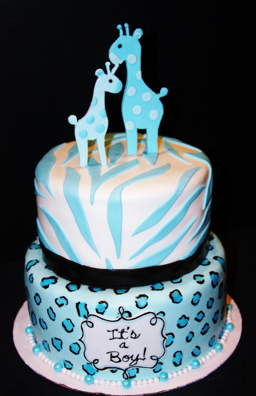 Blue Leopard & Zebra Baby Shower Cake - CakeCentral.com