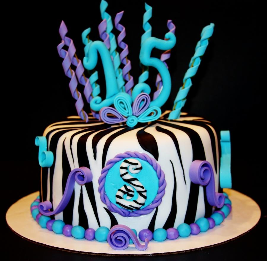 Turquoise & Purple Zebra Cake - CakeCentral.com