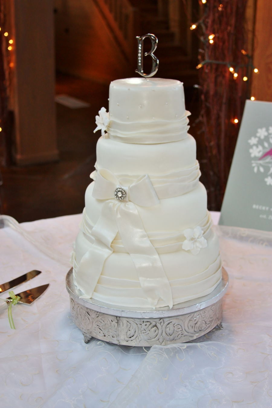 Wedding Cake With Lace Ribbon