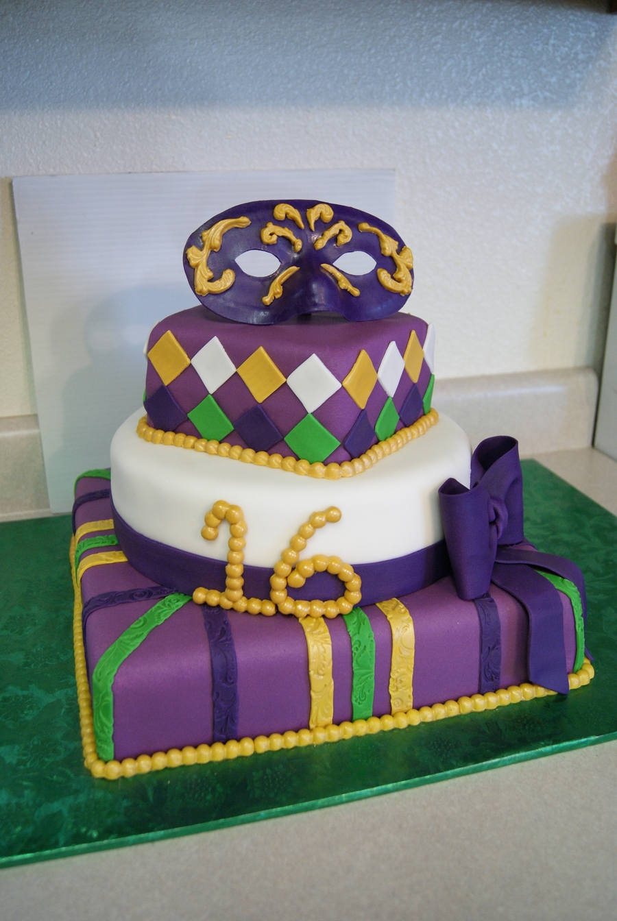 Mardi Gras Sweet 16 on Cake Central