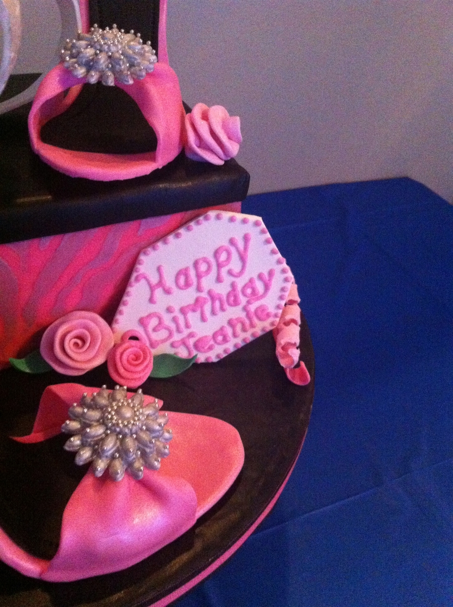 e8d11c76aa Shoebox birthday cake with gumpaste high heels. This was my first time  making gumpaste high heels with gumpaste brooches. I m very happy with how  they ...
