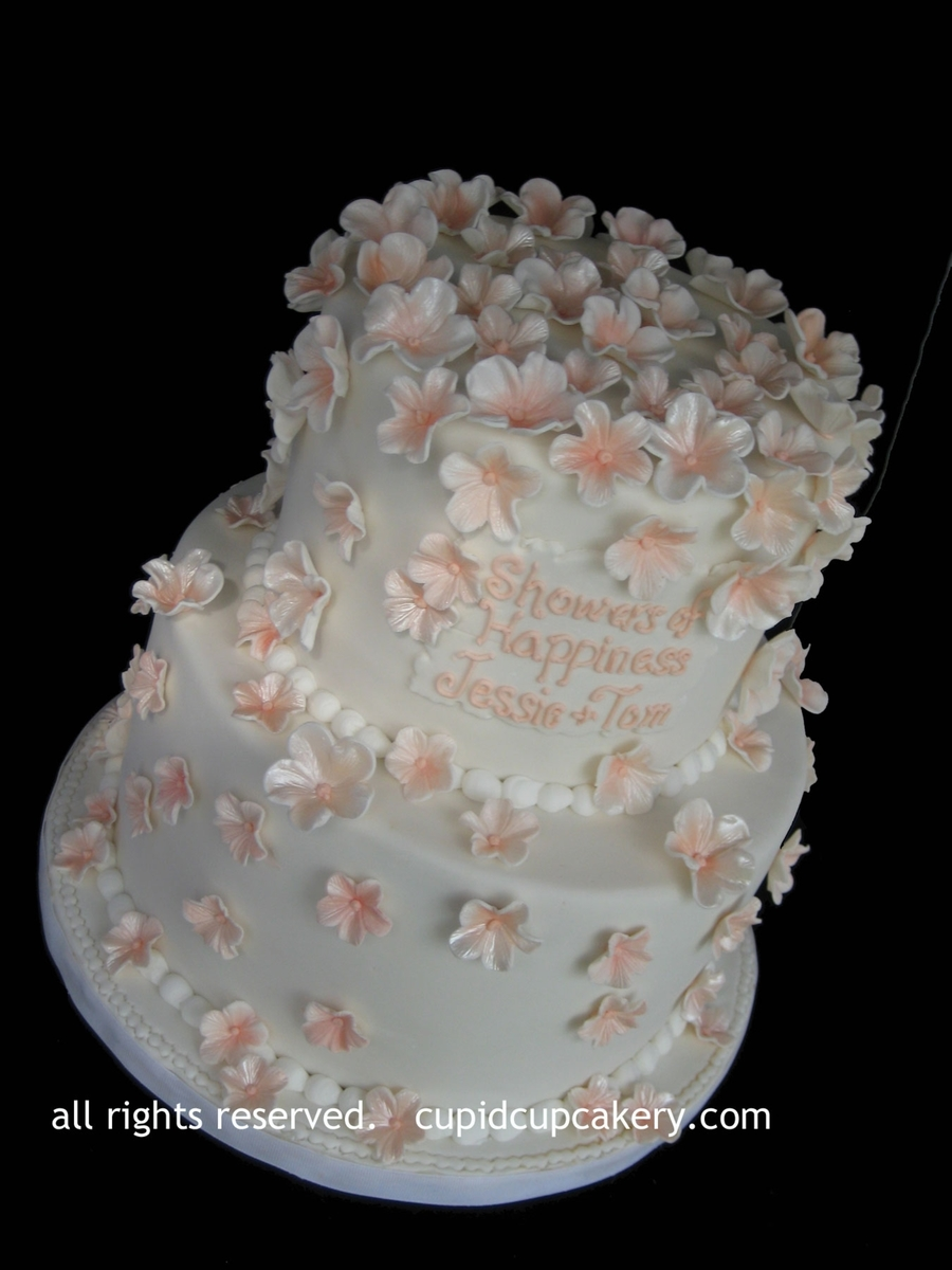 Peach Blossom Bridal Shower Cake on Cake Central