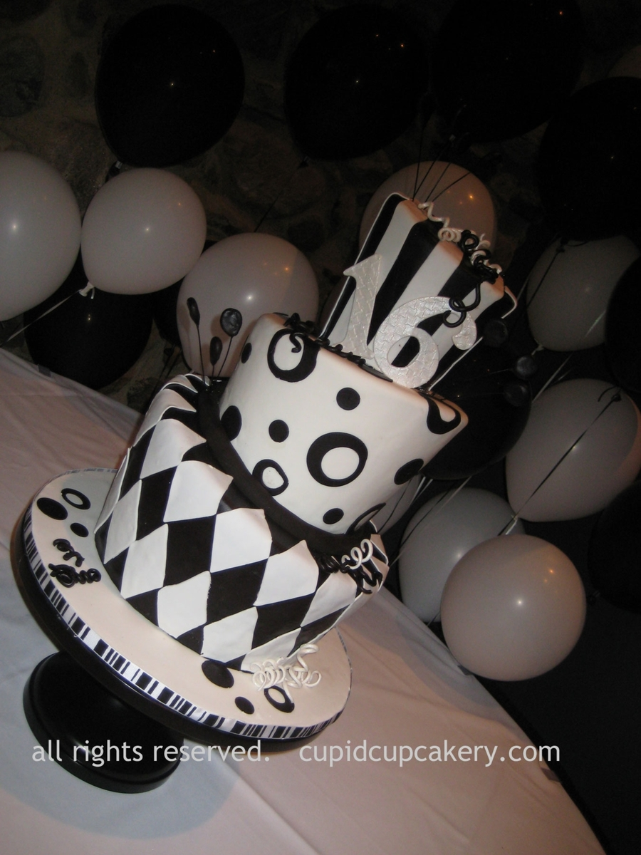 Black And White Topsy Turvy Cake on Cake Central