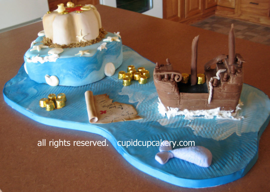 Pirate Ship & Treasure Map Cakes on Cake Central