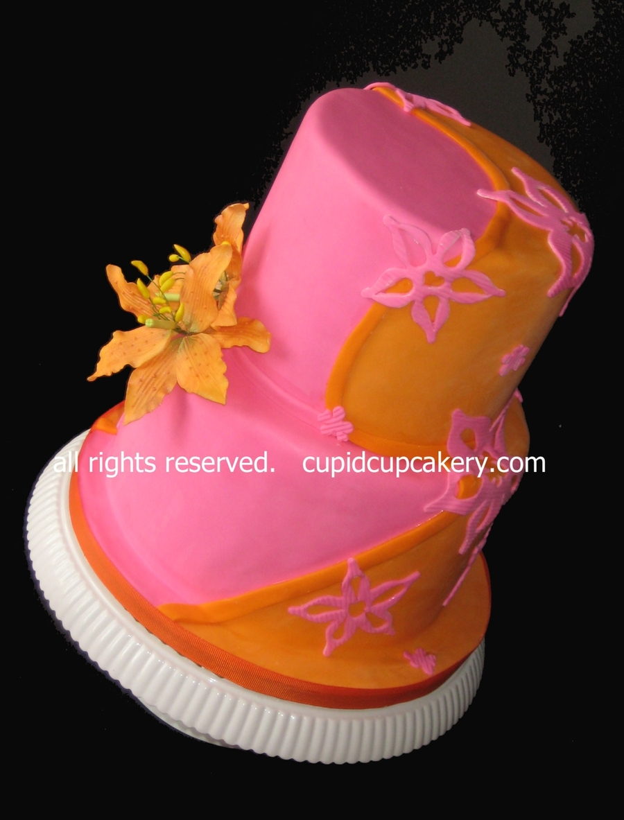 Pink And Orange Lily Cake  on Cake Central