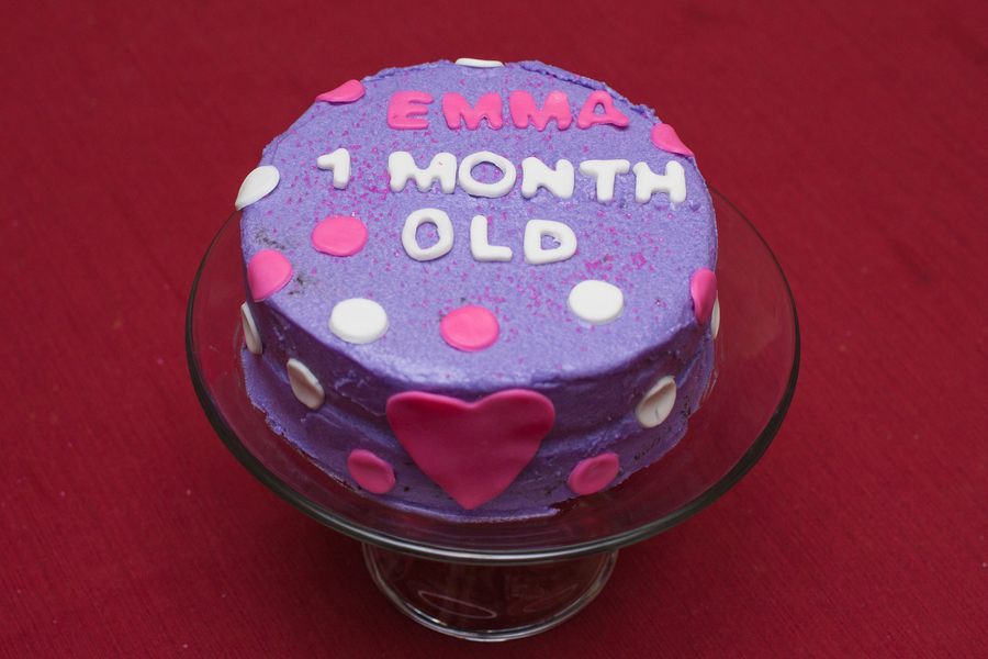 Chocolate Cake With Buttercream Icing And Fondant Decorations For My Daughters One Month Birthday Check Out My Blog Wwwthinkfeelbakeblo on Cake Central