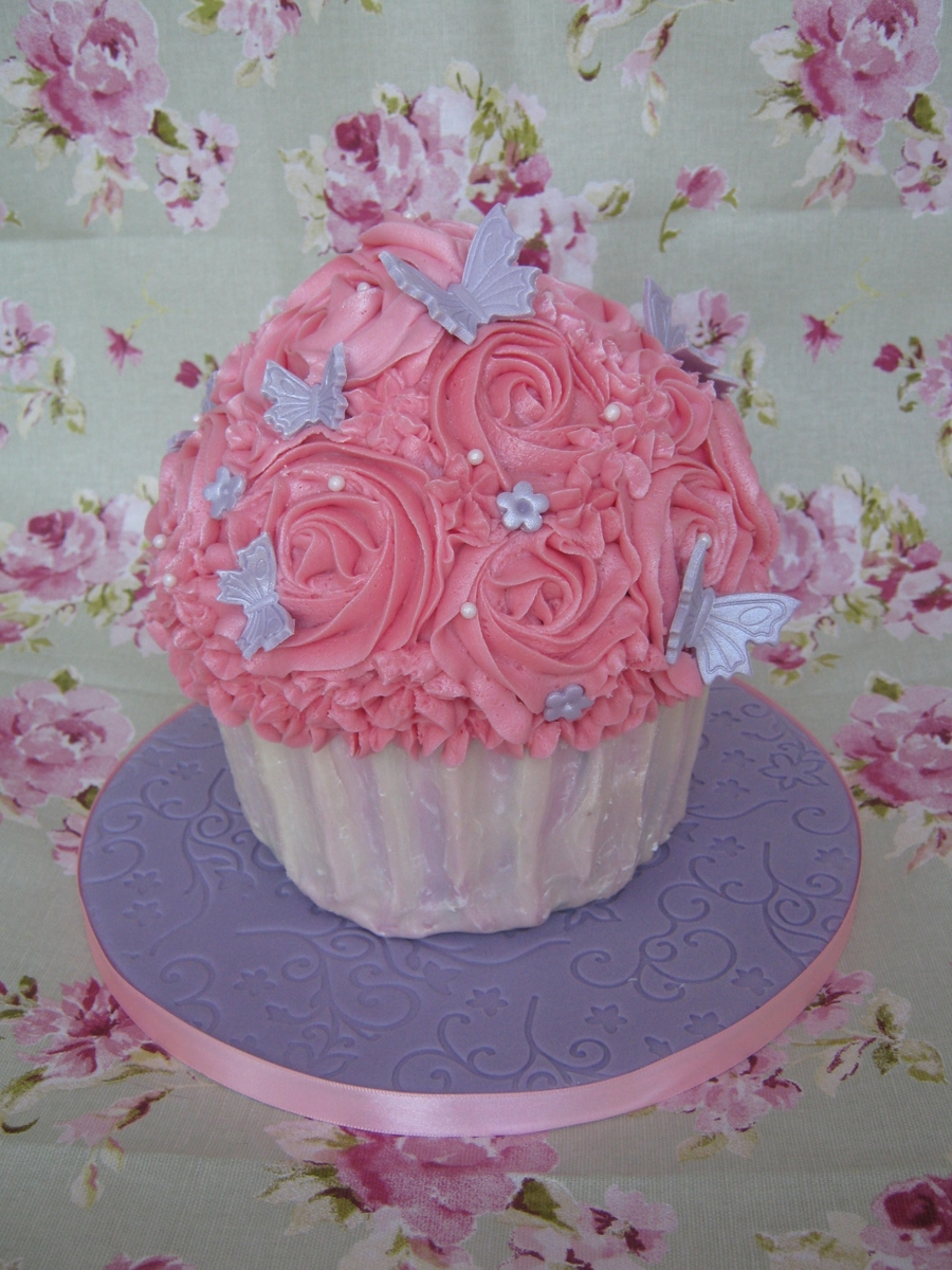 Shabby Chic Pink & Lilac Giant Cupcake  on Cake Central