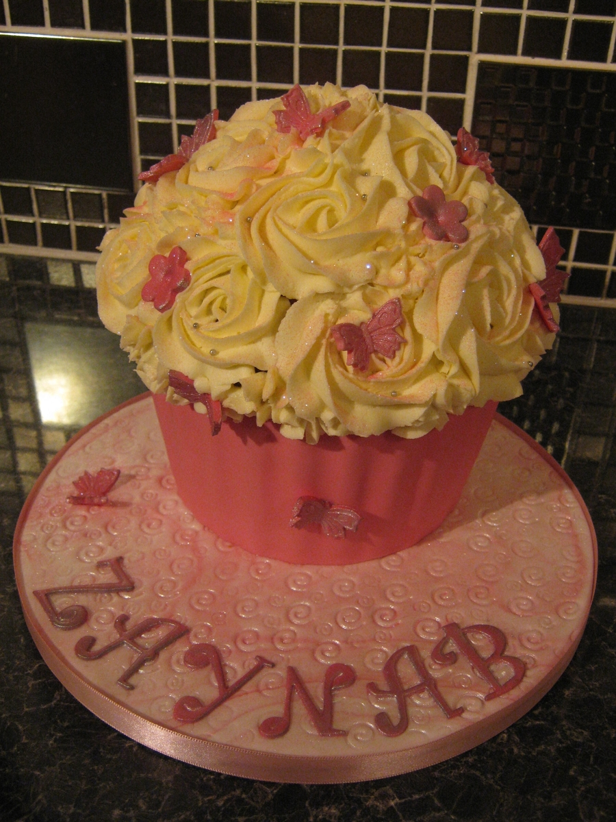 Girly Giant Cupcake on Cake Central