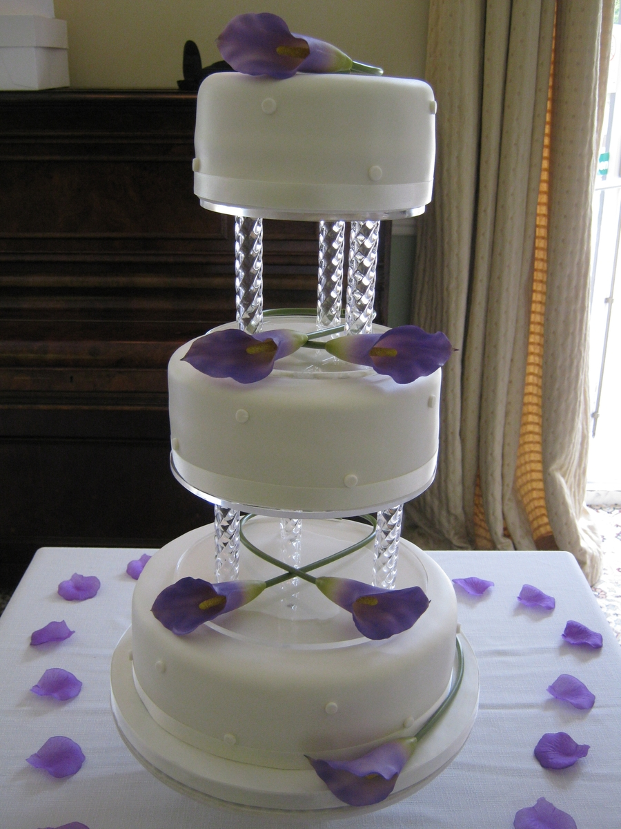 3 Tiered Calla Lily Wedding Cake on Cake Central