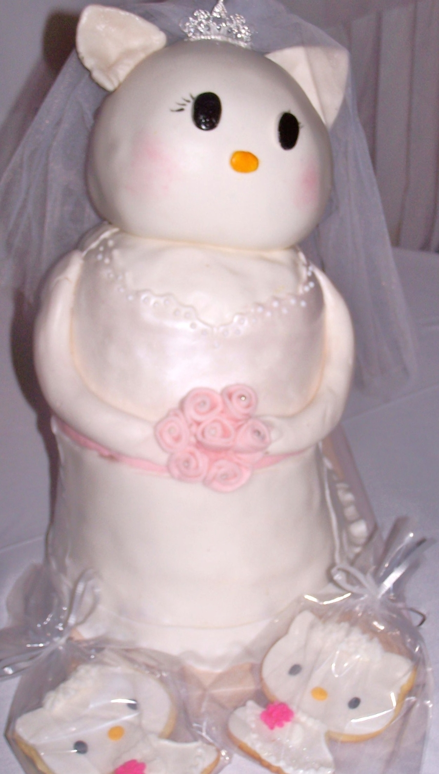 6cfe578fd6c3 A grown-up version of Hello Kitty for a bridal shower. Chocolate cake with  Chocolate Hazelnut Buttercream filling and White Chocolate Cake with  Raspberry ...