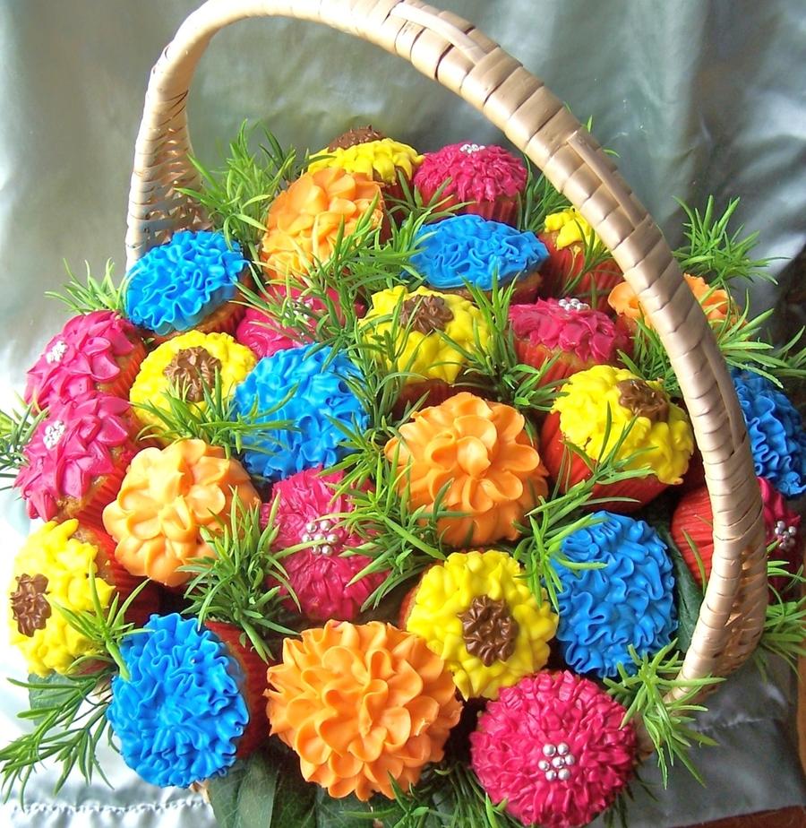 Flower Basket Mothers Day Cake : Cupcake flower basket cakecentral