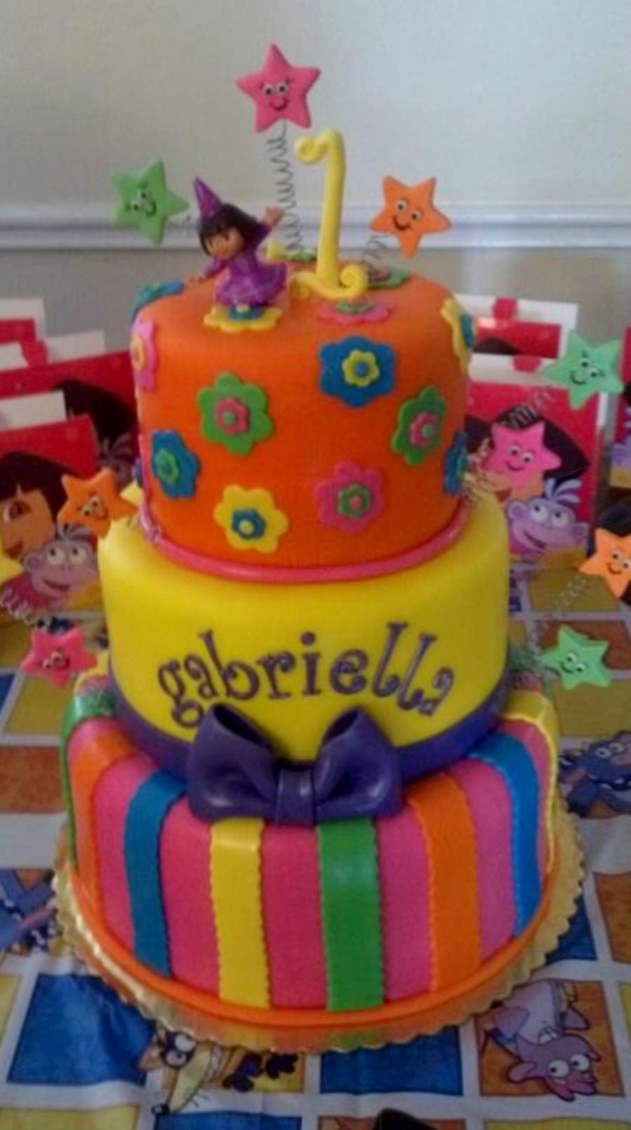 Bright Dora 1St Birthday Cake