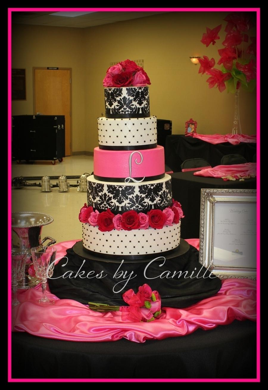 Hot Pink Black White Damask Wedding Cake Cakecentral Com