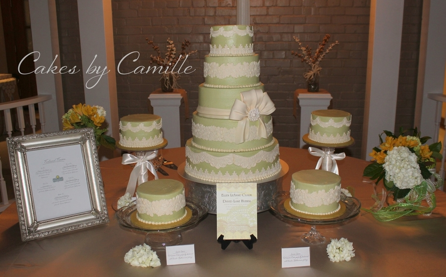 Vintage Sage Green Buttercream With Fondant Lace Appliques on Cake Central