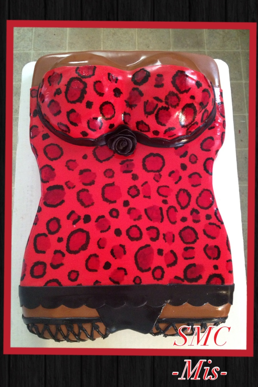 Leopard Print Corset All Covered In Fondant The Leopard Print Was Hand Painted Cake Flavor Is 12 White And Strawberry W Vanilla Butte on Cake Central