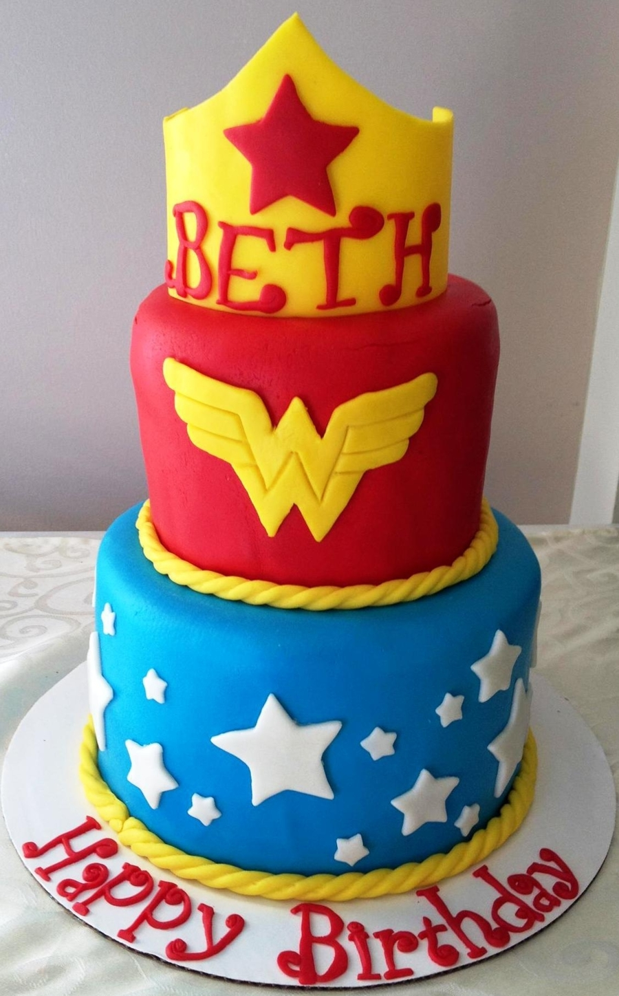 Wonder Woman Tiered Cake on Cake Central