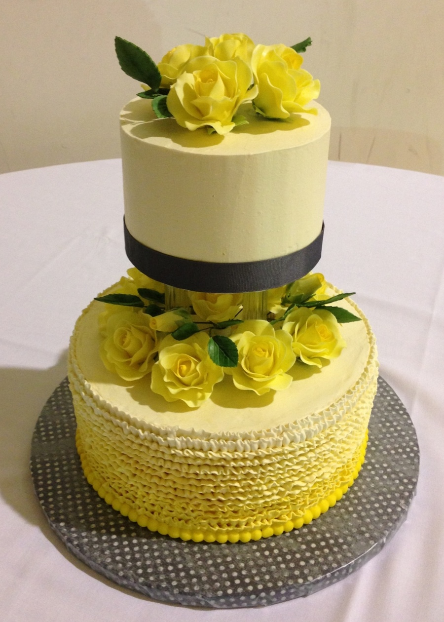 Yellow/gray Wedding! First Wedding Cake I\'ve Done. - CakeCentral.com