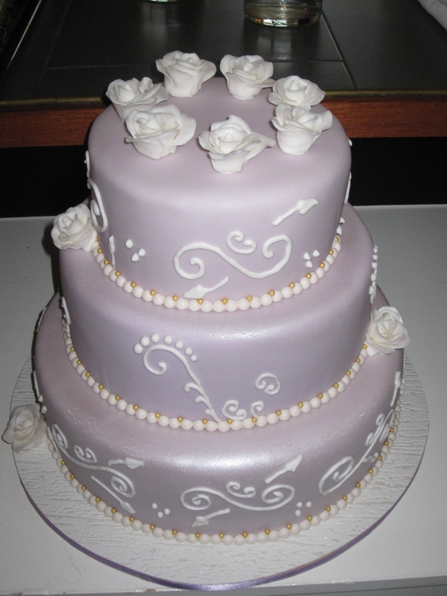 Light Lilac 3 Tiered Cake  on Cake Central