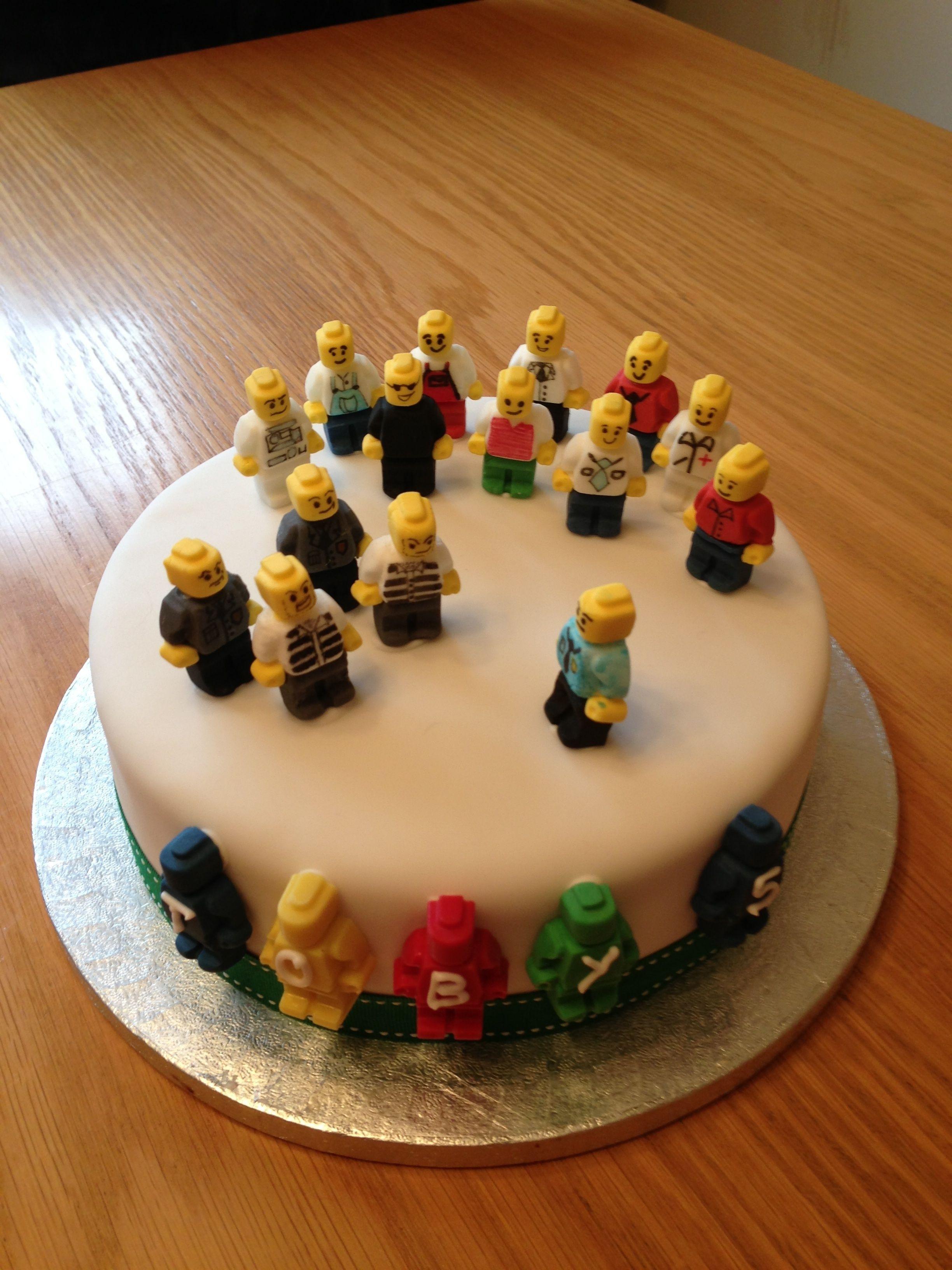 Lego City Police Birthday Cake With Handmade Minifigures