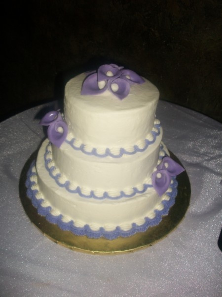Simple Purple And White Wedding Cake