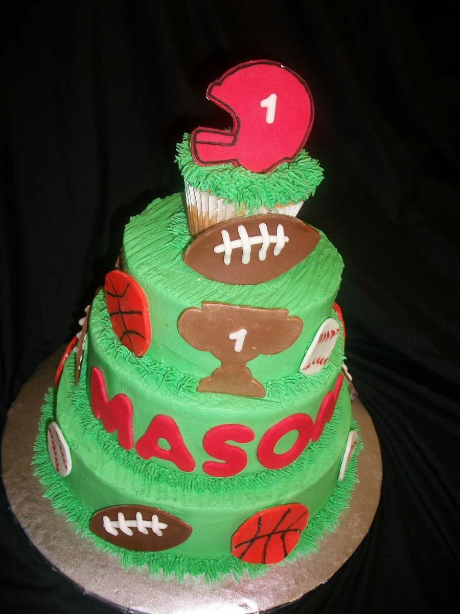 Sports Themed First Birthday on Cake Central