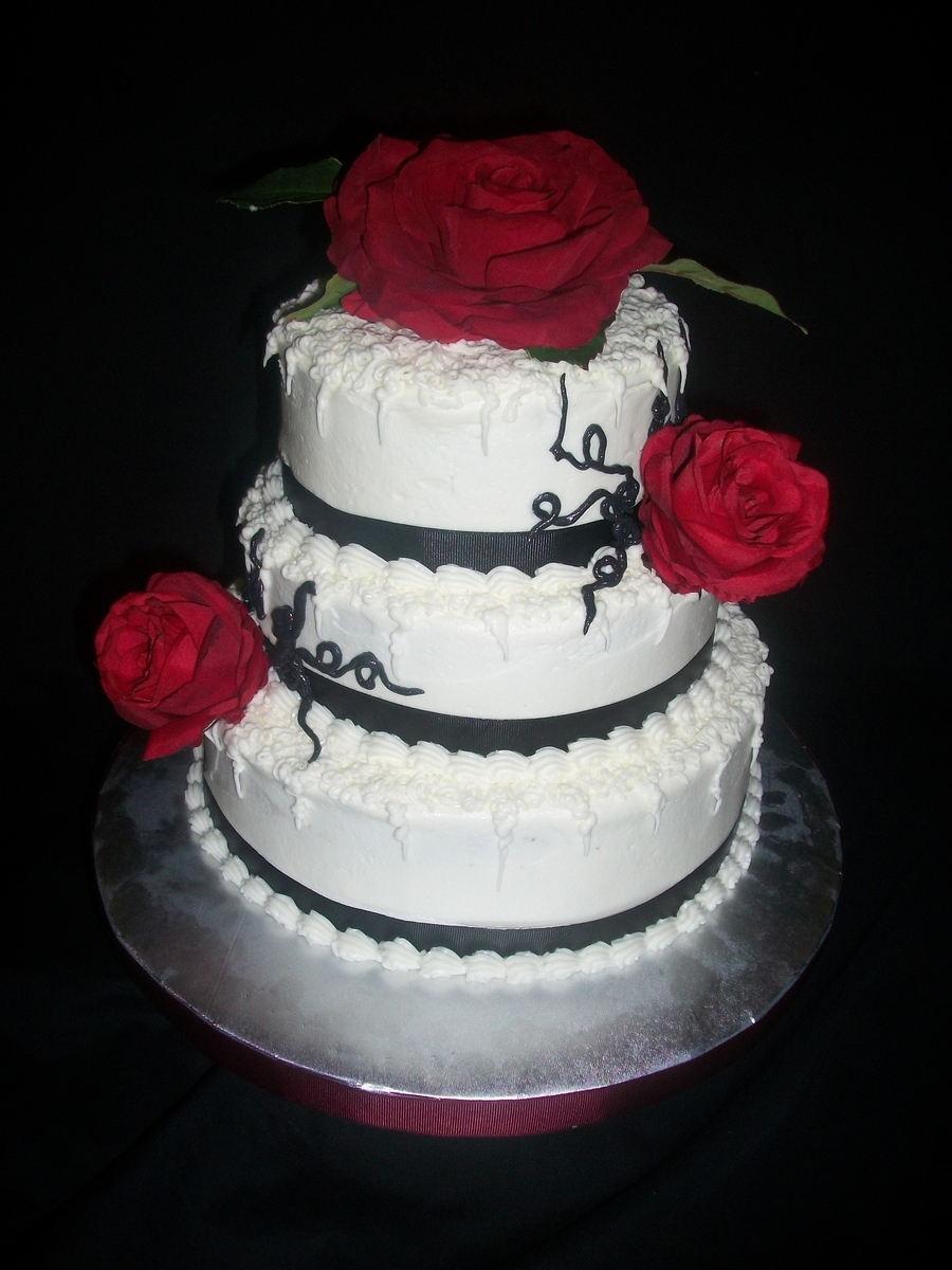 Black And White Buttercream Three Tier on Cake Central
