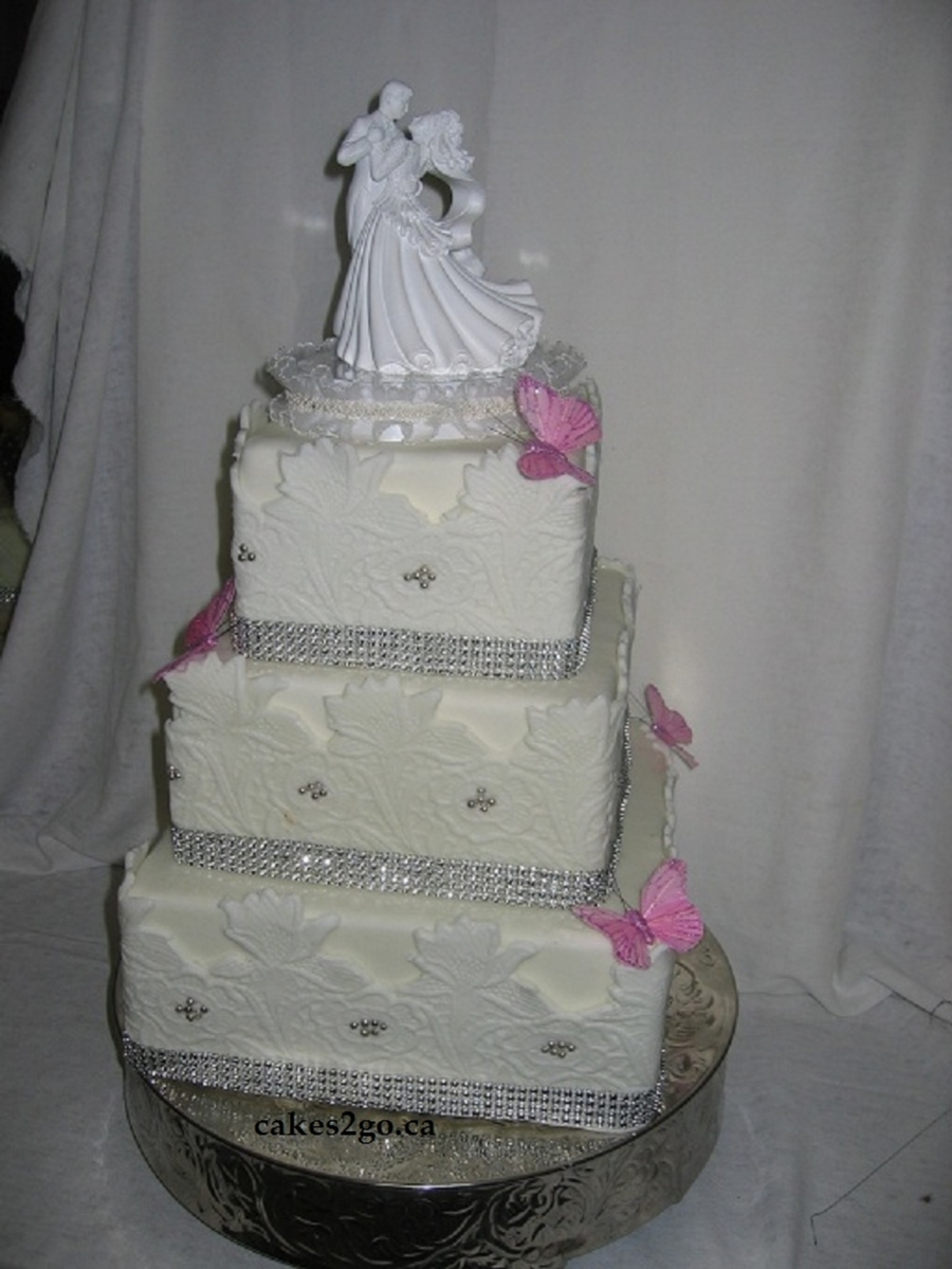 Daffodil Lace Wedding Cake Oakville Ontario By Cakes2Go.ca on Cake Central