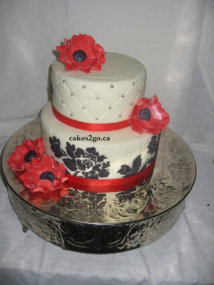 Red Anemone Flower Wedding Cake Oakville Ontario By Cakes2Go.ca on Cake Central