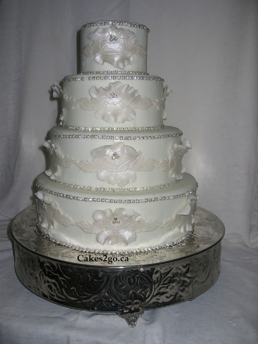 Flower White Chic Wedding Cake on Cake Central
