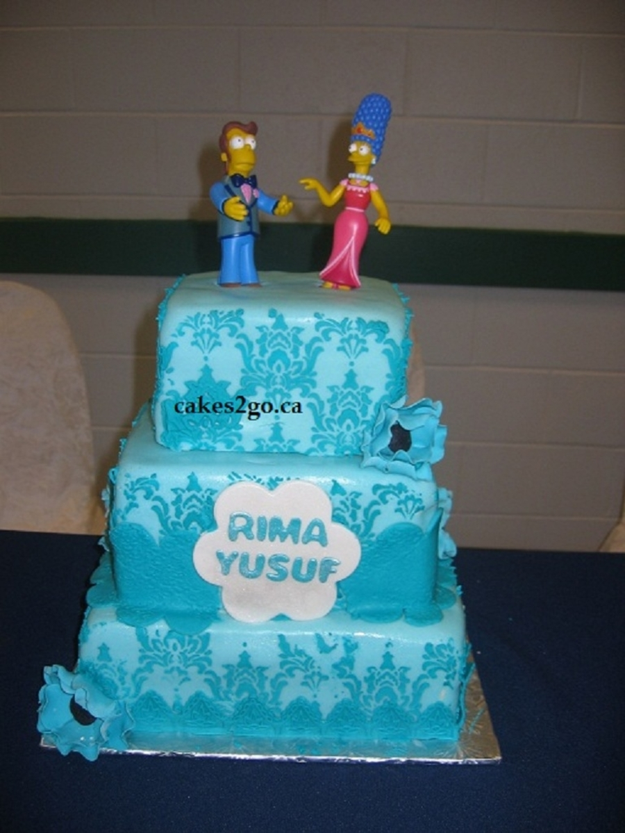 Damask Blue Wedding Cake Oakville Ontario By Cakes2go Ca