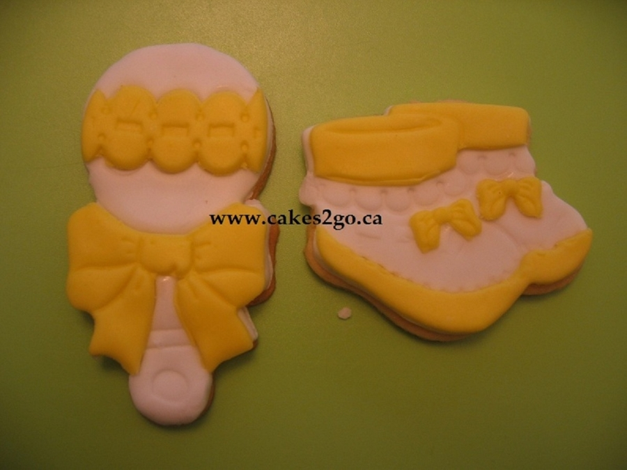 Baby Bootie & Baby Rattle Fondant Baby Shower Cookies on Cake Central