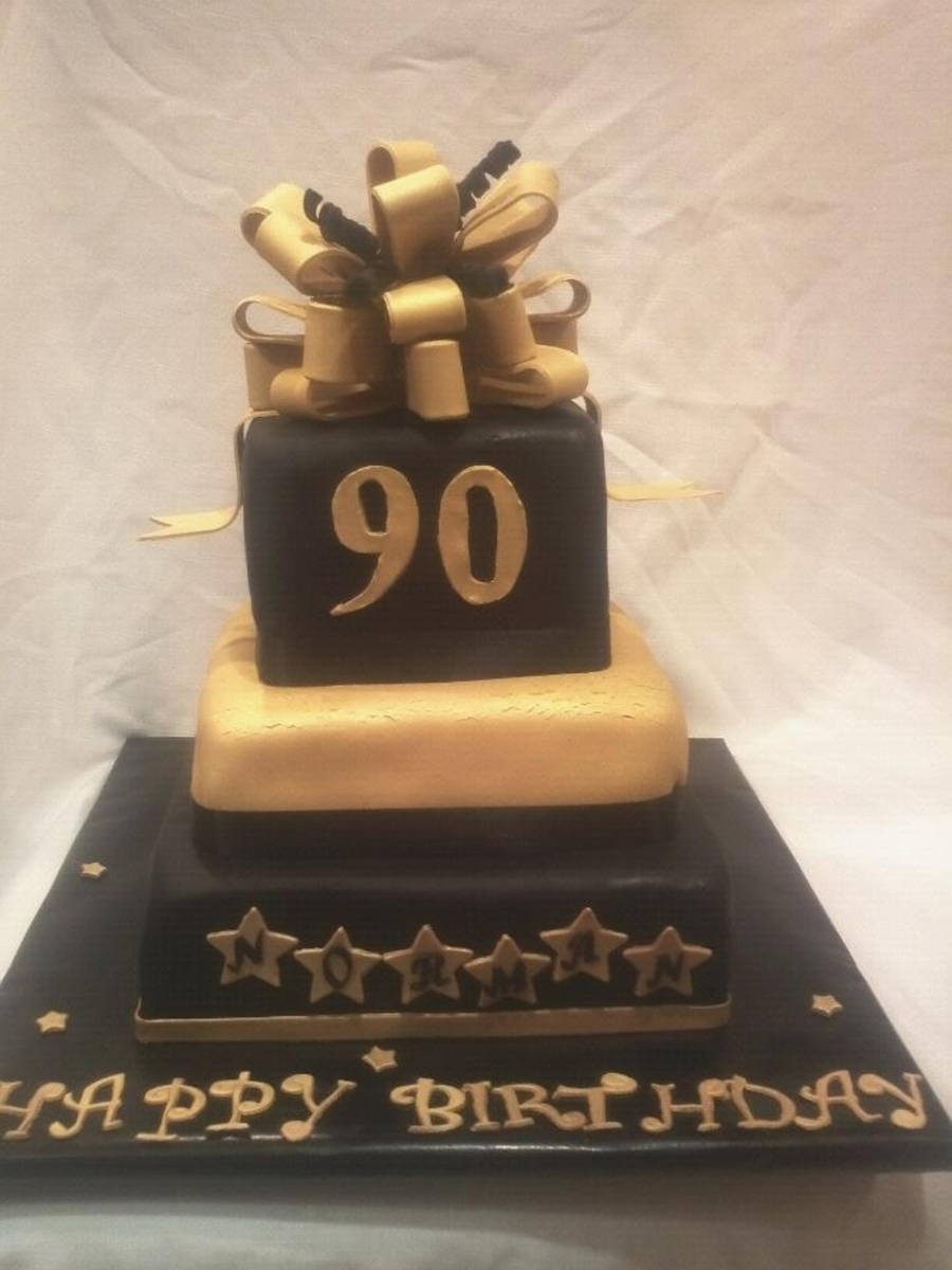 Black And Gold 90Th Birthday Cake on Cake Central