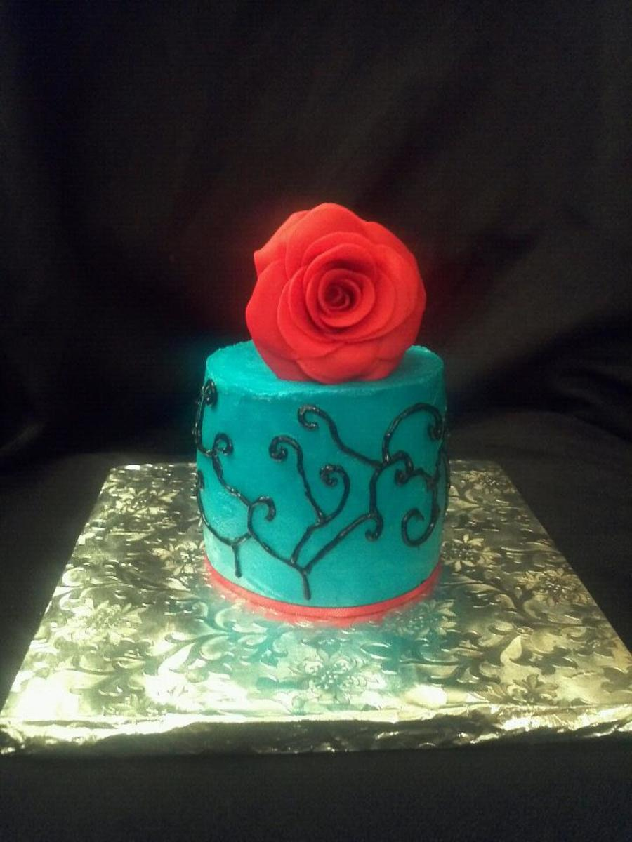 Teal And Red Cake on Cake Central