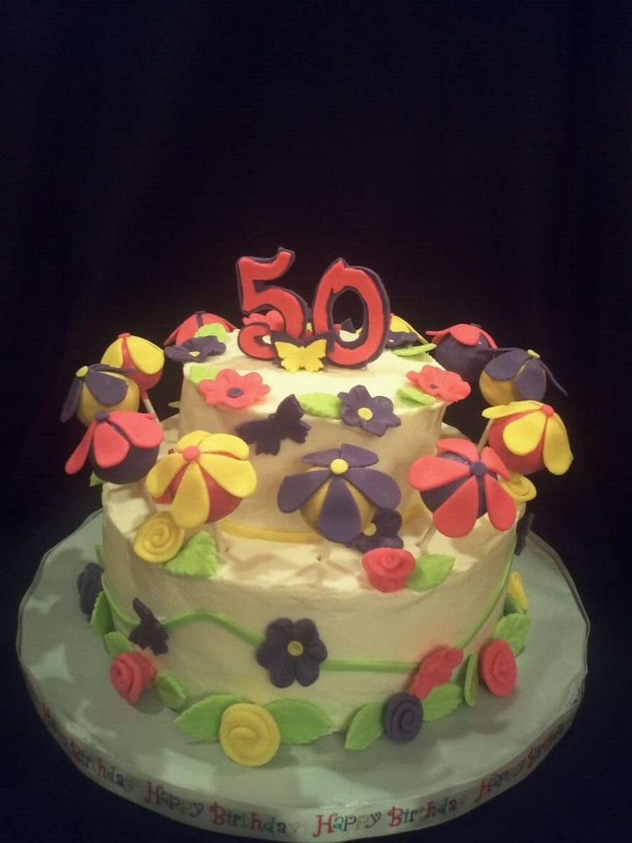 Surprising 50Th Birthday Cake With Cake Pop Flowers Cakecentral Com Funny Birthday Cards Online Inifodamsfinfo