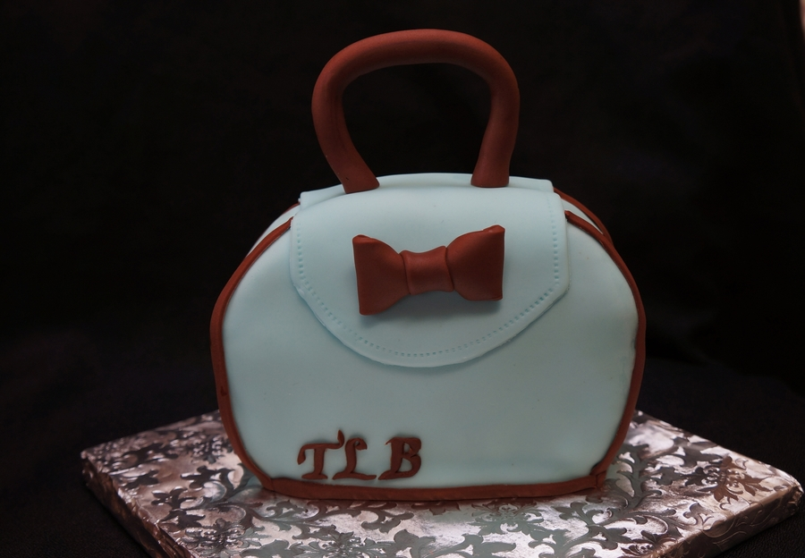 Blue And Brown Purse Cake on Cake Central