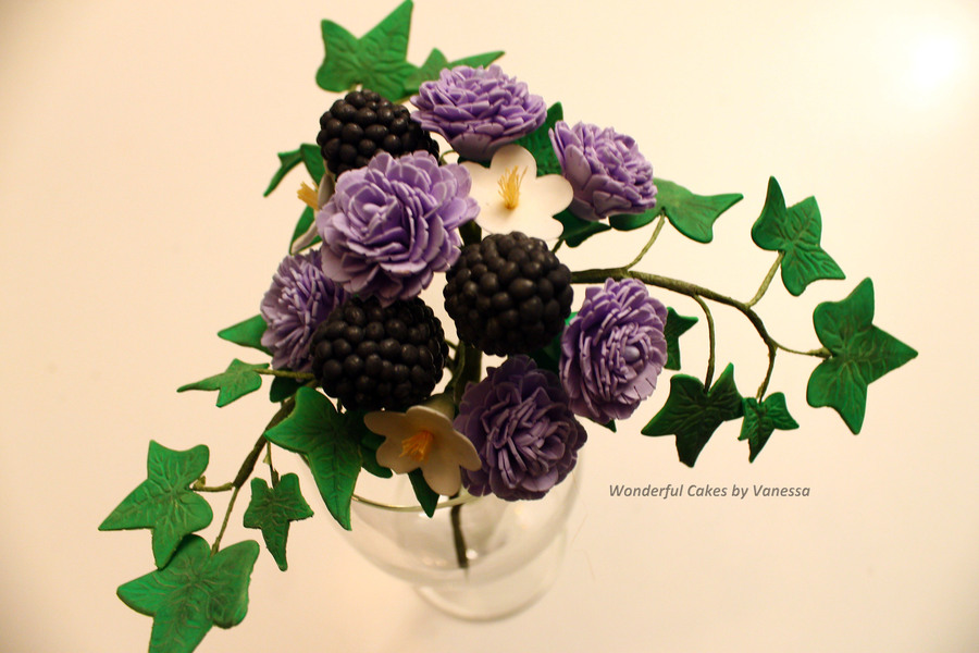 Carnations Blackberries Blossom And Ivy Leaves Made During The Course Pme Professional Diploma Sugar Flowers on Cake Central