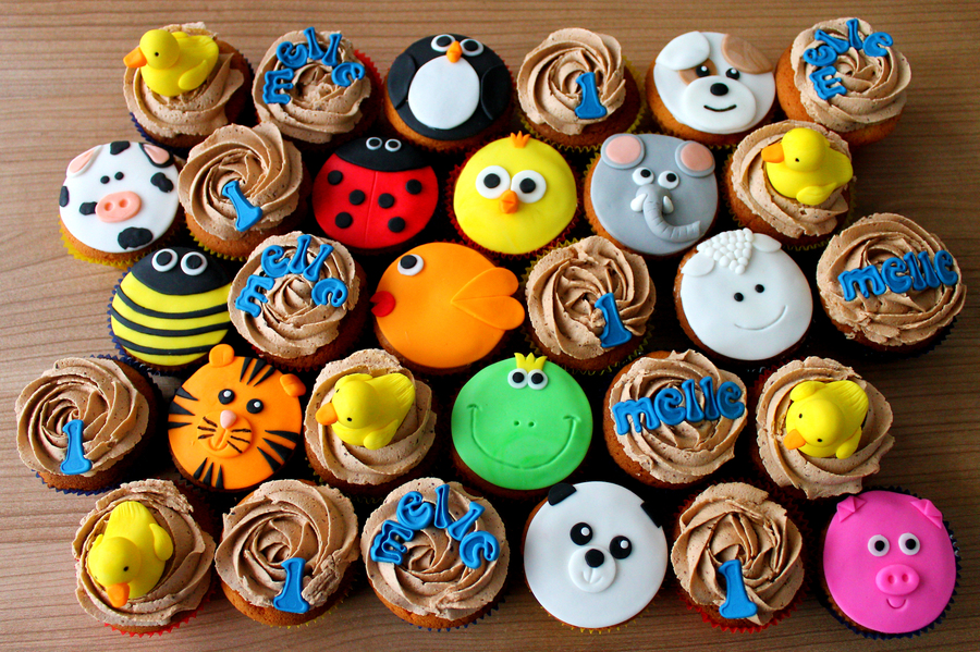 Animal Cupcakes For The First Birthday Of Melle on Cake Central