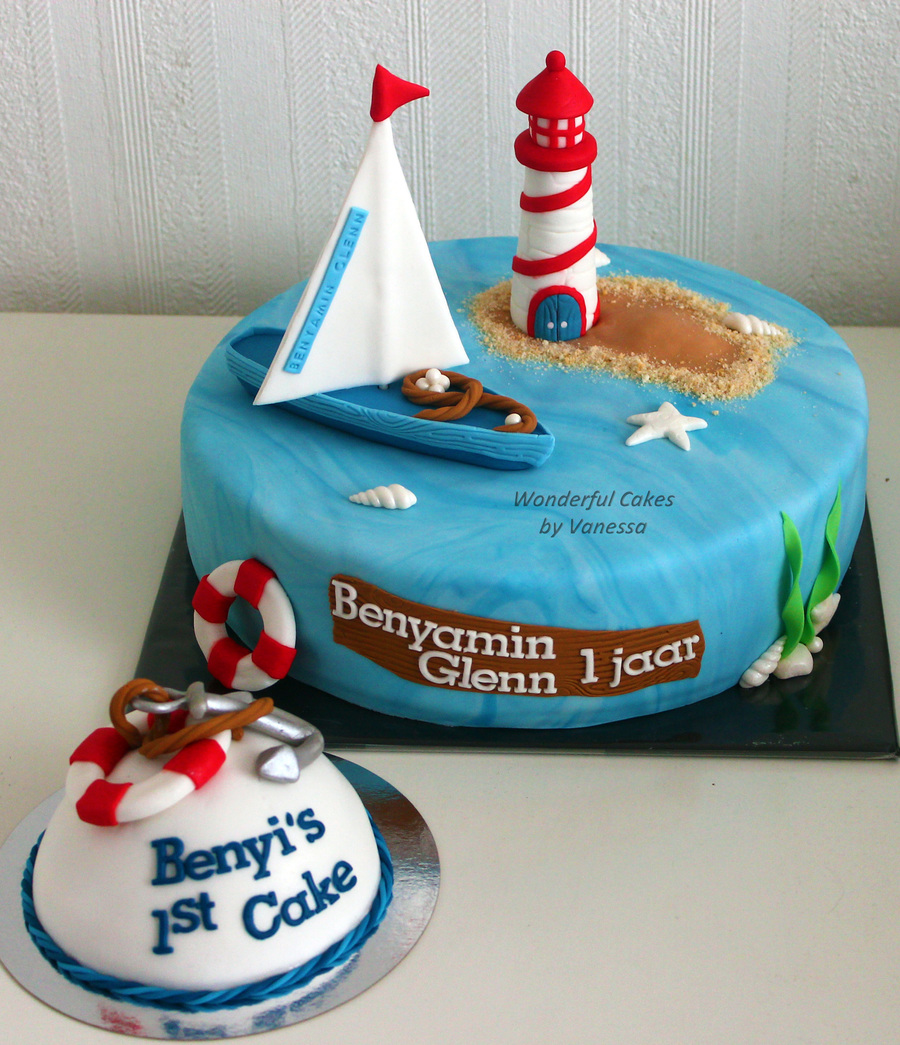 Prime Sailboat Amp Lighthouse For A Birthday Boy With His Own Small Cake Funny Birthday Cards Online Eattedamsfinfo