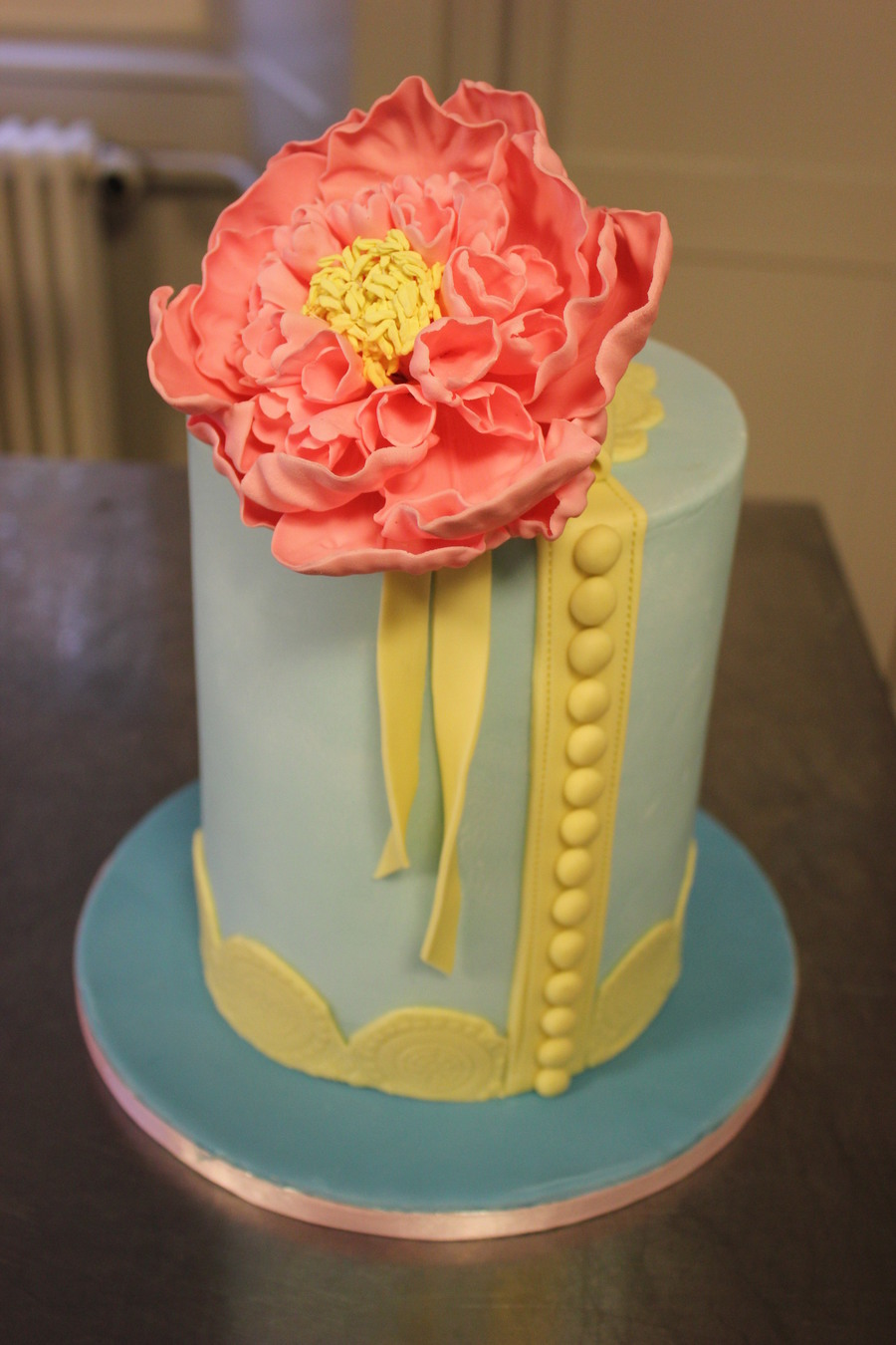 Double Barrel Cake And Peony Flower on Cake Central