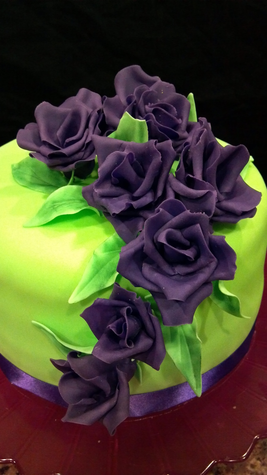 Bright Green Birthday Cake With Purple Flowers Cakecentral