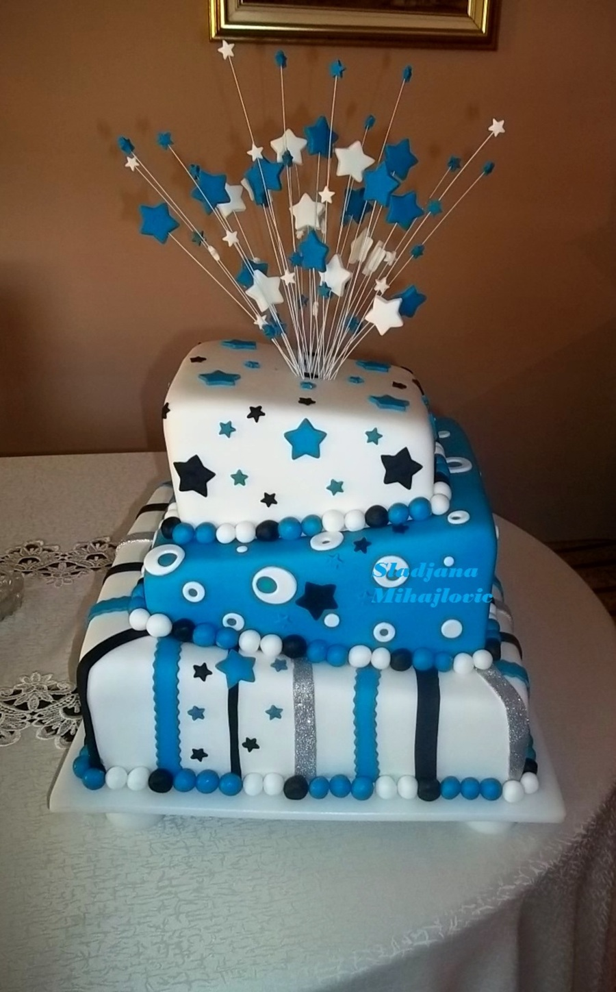 Square Topsy Turvy Cake, Blue And White Cake, Stars ...