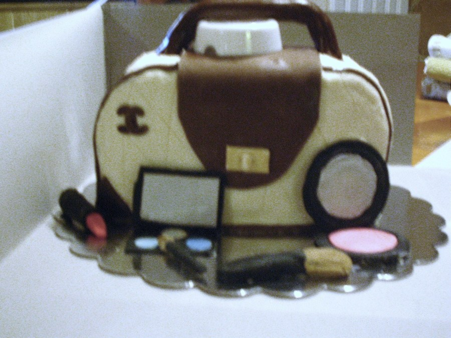 First Purse Cake Only Make Up Handle And Front Flap Are Fondant The White Cap Under The Handle Is Temporary Only To Hold Handle Up Til on Cake Central